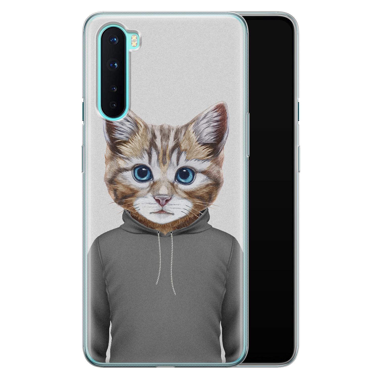 OnePlus Nord siliconen hoesje - Poezenhoofd
