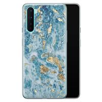 OnePlus Nord siliconen hoesje - Goud blauw marmer