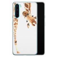 OnePlus Nord siliconen hoesje - Giraffe peekaboo