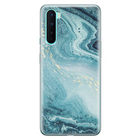 OnePlus Nord siliconen hoesje - Marmer blauw