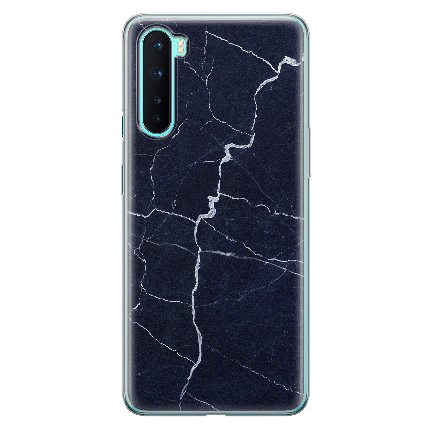 OnePlus Nord siliconen hoesje - Marmer navy blauw