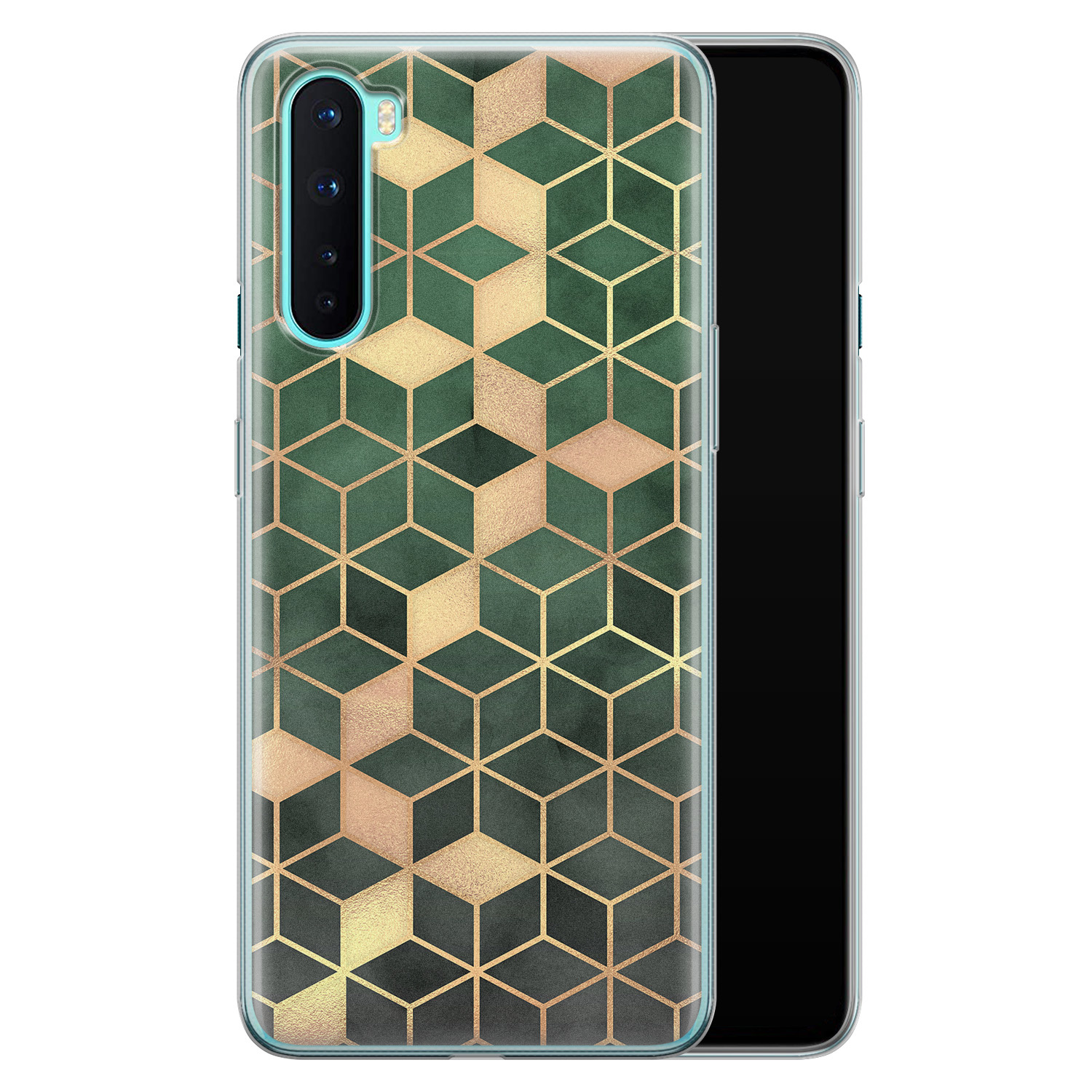 OnePlus Nord siliconen hoesje - Green cubes