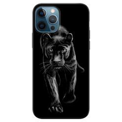 Leuke Telefoonhoesjes iPhone 12 siliconen hoesje zwart - Black panter