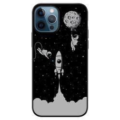 iPhone 12 siliconen hoesje zwart - Universum astronaut