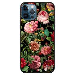 Leuke Telefoonhoesjes iPhone 12 siliconen hoesje zwart - Rode bloemen