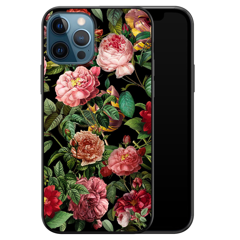 iPhone 12 siliconen hoesje zwart - Rode bloemen