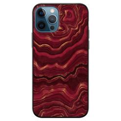 iPhone 12 siliconen hoesje zwart - Marmer rood agate