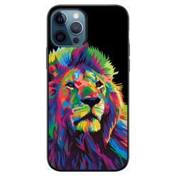 Leuke Telefoonhoesjes iPhone 12 siliconen hoesje zwart - Leeuw abstract