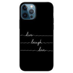 Leuke Telefoonhoesjes iPhone 12 siliconen hoesje zwart - Live, love, laugh