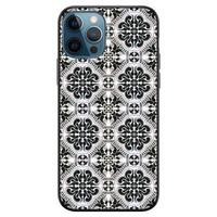 iPhone 12 siliconen hoesje zwart - Moroccan tiles