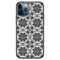 Leuke Telefoonhoesjes iPhone 12 siliconen hoesje zwart - Moroccan tiles