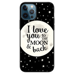 iPhone 12 siliconen hoesje zwart - Moon and back