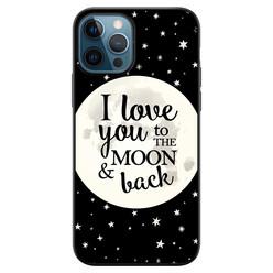 Leuke Telefoonhoesjes iPhone 12 siliconen hoesje zwart - Moon and back