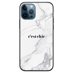 Leuke Telefoonhoesjes iPhone 12 siliconen hoesje zwart - Marmer grijs C'est chic