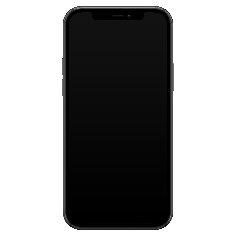 iPhone 12 siliconen hoesje zwart - Marmer grijs C'est chic