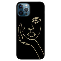 Leuke Telefoonhoesjes iPhone 12 siliconen hoesje zwart - Abstract vrouw gezicht