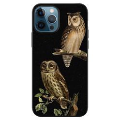 Leuke Telefoonhoesjes iPhone 12 siliconen hoesje zwart - Owl night