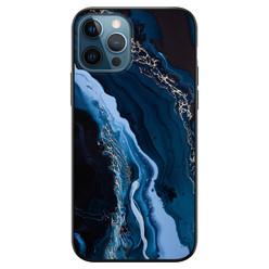 iPhone 12 siliconen hoesje zwart - Marmer blauw