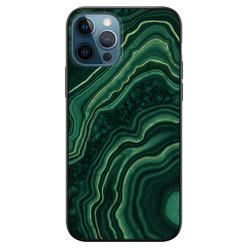 Leuke Telefoonhoesjes iPhone 12 siliconen hoesje zwart - Marmer groen agate