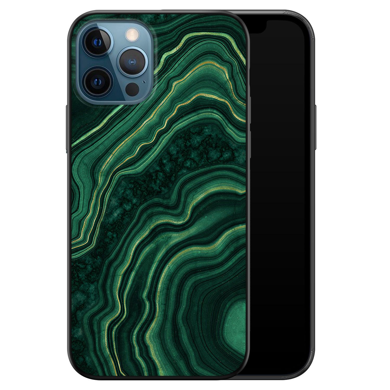 iPhone 12 siliconen hoesje zwart - Marmer groen agate