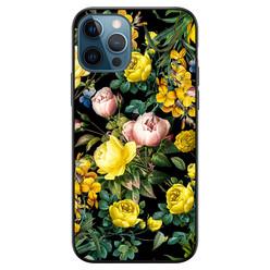 iPhone 12 siliconen hoesje zwart - Bloemen geel