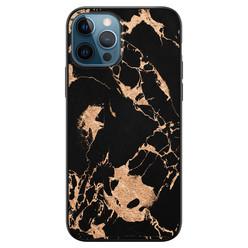 iPhone 12 siliconen hoesje zwart - Marmer zwart brons