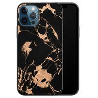 Leuke Telefoonhoesjes iPhone 12 siliconen hoesje zwart - Marmer zwart brons