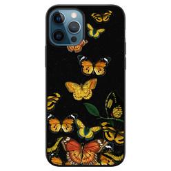 Leuke Telefoonhoesjes iPhone 12 siliconen hoesje zwart - Vlinders
