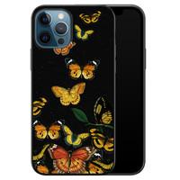 iPhone 12 siliconen hoesje zwart - Vlinders