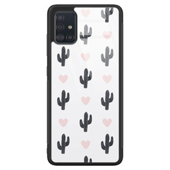 Samsung Galaxy A51 glazen hardcase - Cactus love