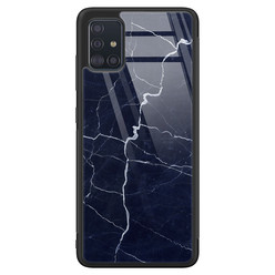 Samsung Galaxy A51 glazen hardcase - Marmer navy blauw