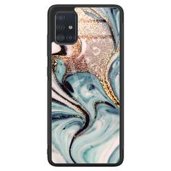 Samsung Galaxy A51 glazen hardcase - Marmer blauw goud