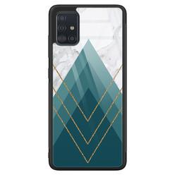 Samsung Galaxy A51 glazen hardcase - Geometrisch blauw