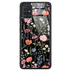 Samsung Galaxy A51 glazen hardcase - Dark flowers