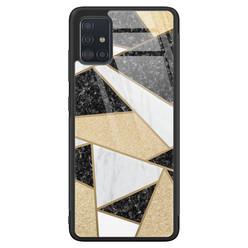 Samsung Galaxy A51 glazen hardcase - Goud abstract