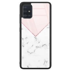 Samsung Galaxy A51 glazen hardcase - Marmer roze grijs