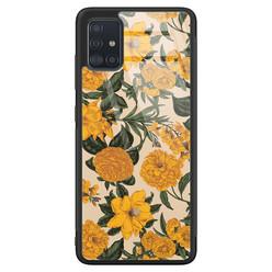 Samsung Galaxy A51 glazen hardcase - Retro flowers