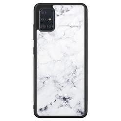 Samsung Galaxy A51 glazen hardcase - Marmer grijs