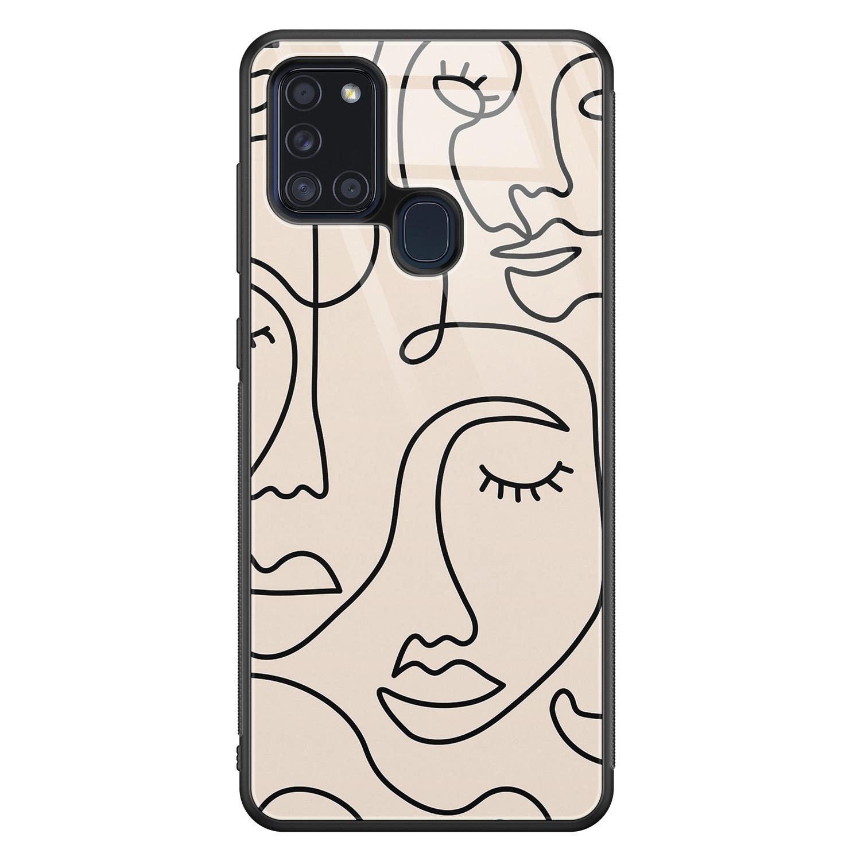 Samsung Galaxy A21s glazen hardcase - Abstract gezicht lijnen