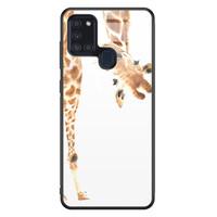 Samsung Galaxy A21s glazen hardcase - Giraffe peekaboo