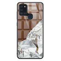 Samsung Galaxy A21s glazen hardcase - Chocoladereep
