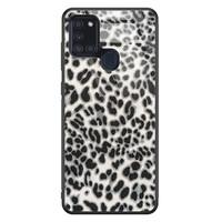 Samsung Galaxy A21s glazen hardcase - Luipaard grijs