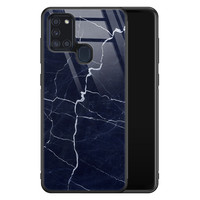 Samsung Galaxy A21s glazen hardcase - Marmer navy blauw
