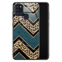 Samsung Galaxy A21s glazen hardcase - Luipaard zigzag