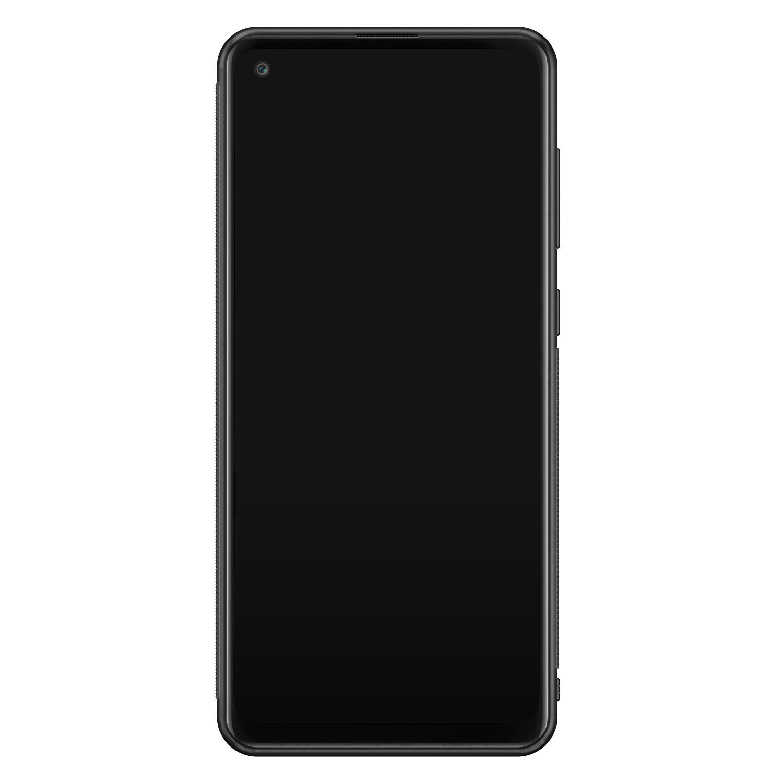 Samsung Galaxy A21s glazen hardcase - Dark flowers