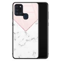 Samsung Galaxy A21s glazen hardcase - Marmer roze grijs