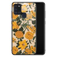 Samsung Galaxy A21s glazen hardcase - Retro flowers