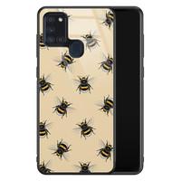 Samsung Galaxy A21s glazen hardcase - Bee happy