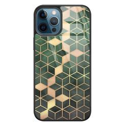 Leuke Telefoonhoesjes iPhone 12 glazen hardcase - Green cubes