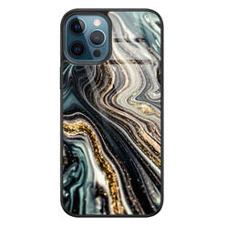 Leuke Telefoonhoesjes iPhone 12 glazen hardcase - Marmer swirl